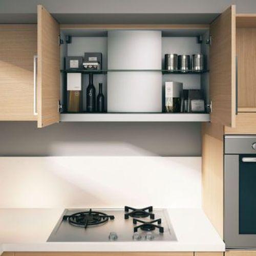 hotte intégrée dans le meuble haut de la cuisine