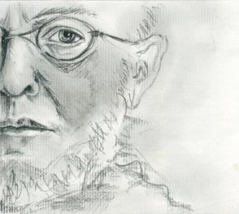 Graphite sur papier Ingres d'après un portrait de Menzel