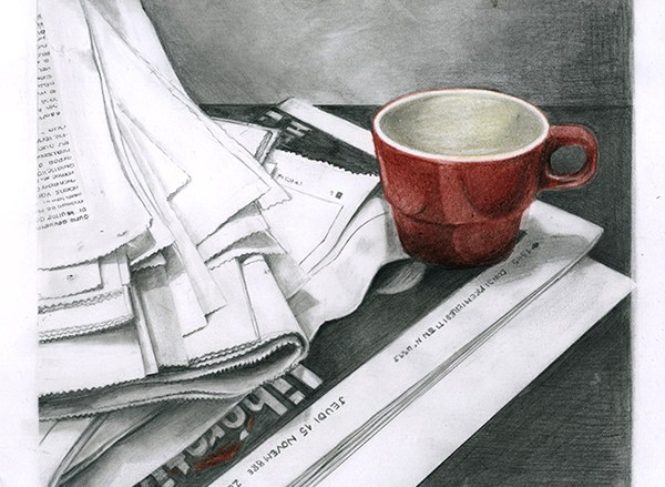 tasse, café, journaux, libération, dessin