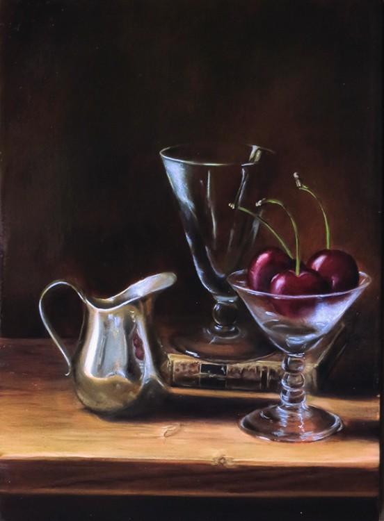 verres, cerises et pot en metal