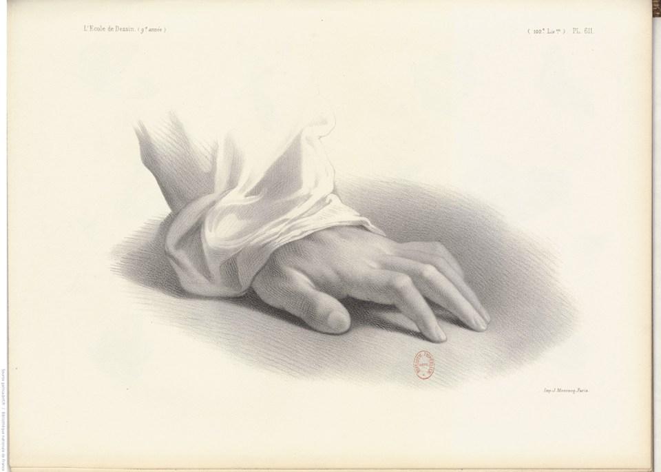 dessin d'étude d'une main en appui