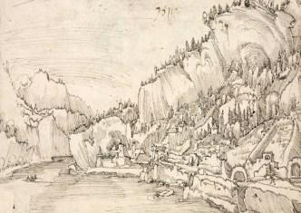étude de paysage, dessin à la plume