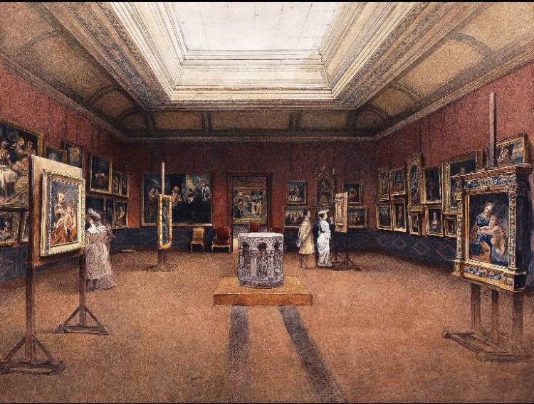 Vue de la salle de maitres italiens, pinacothèque 1904