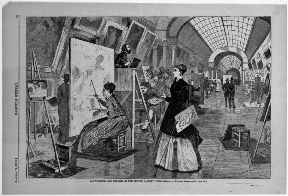 Art-Students and Copyists in the Louvre Gallery, Paris, 1868