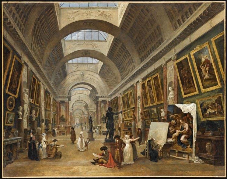 Projet d'aménagement de la Grande Galerie du Louvre en 1796 de de Hubert Robert