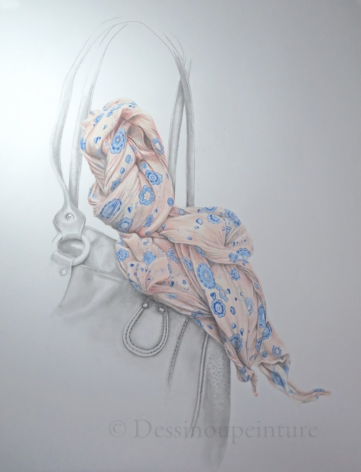 illustration foulard et sac à main