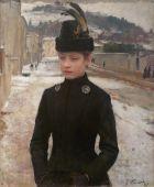 Emile Friant, Jeune Nancéienne dans un paysage de neige