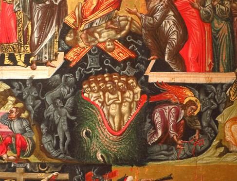 detail d' icone du Christ et de la Vierge - art Grec XVI -Ne dirait-on pas du Bosch?