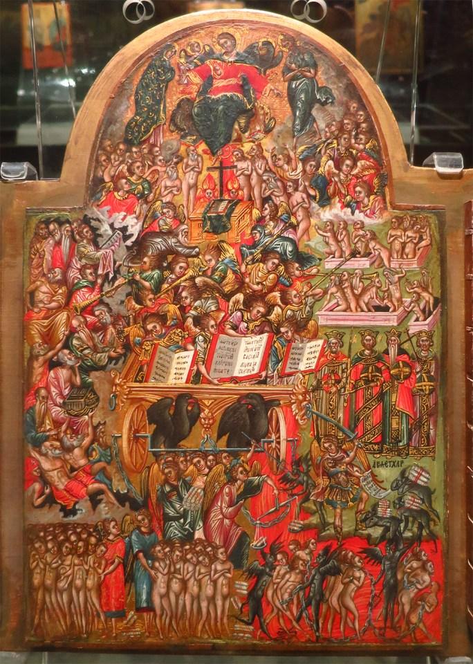 panneau d'une icone du Christ et de la Vierge - art Grec XVI