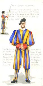 Rome aquarelle garde suisse vatican