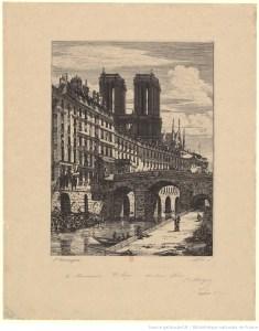 gravure ancienne du petit pont à Paris