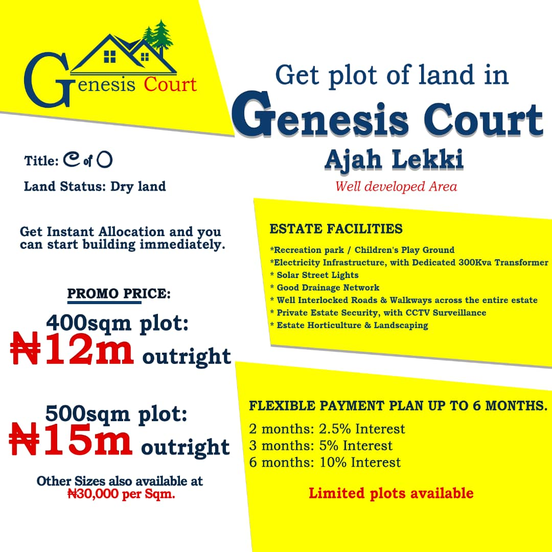 Genesis Court Estate Land For Sale in Ajah, Lekki