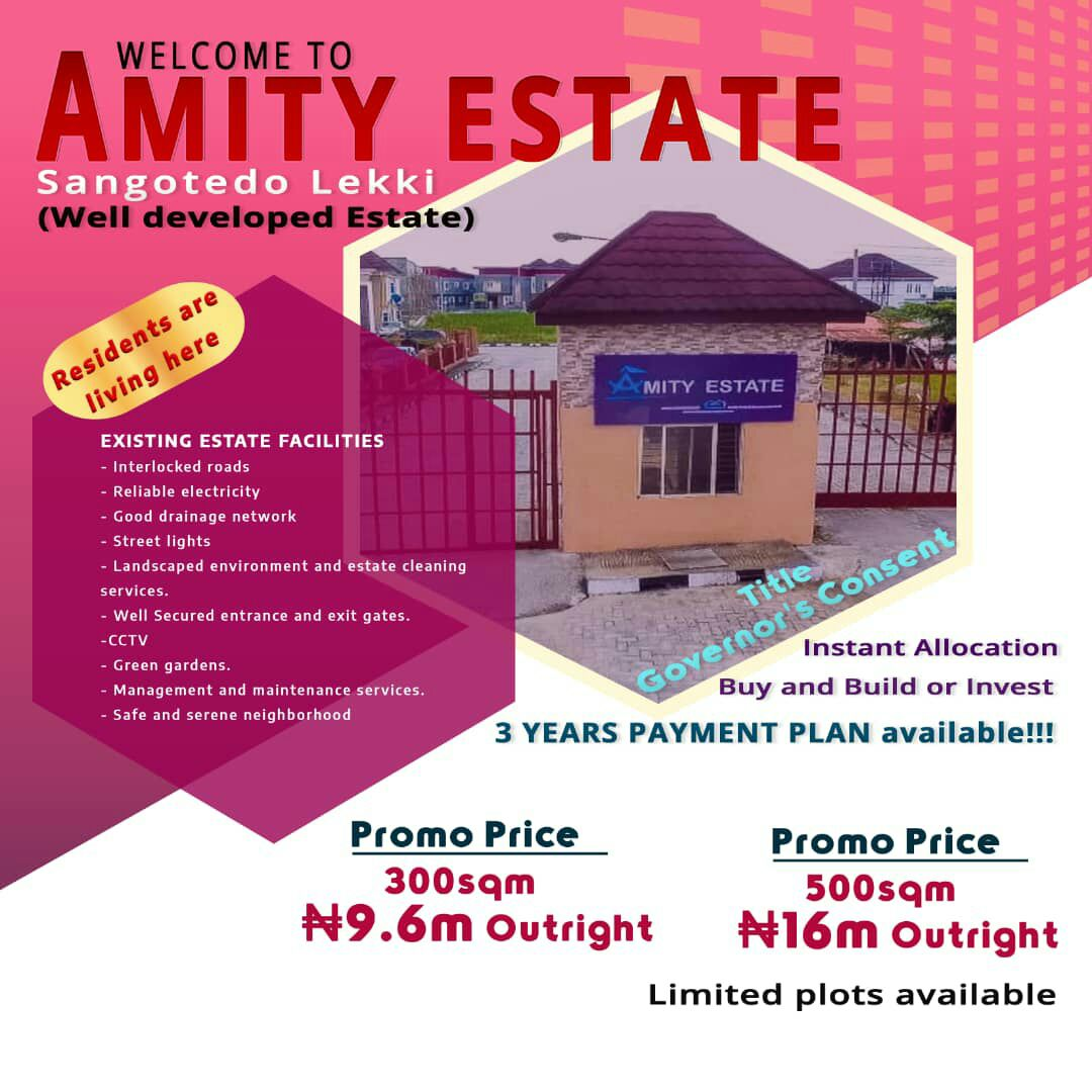 Land in Amity Estate Sangotedo For Sale with 3 Years Payment Plan