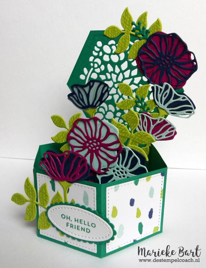 Hexagonal Pop-up Card using Window Box and Eclectic Layers Thinlits from Stampin' Up!