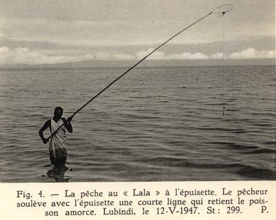 """Pêche aux hameçons avec un """"Lala"""", pêche au vif ou au mort manié."""