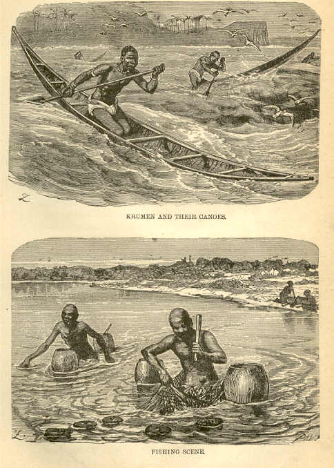 Canots et scène de pêche