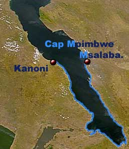 Cyprichromis pavo | Carte de répartition de Cyprichromis pavo | sud du lac Tanganyika.