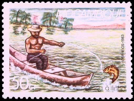 Pêche à la ligne au Mozambique.