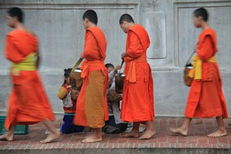 Jour 124 : La procession des moines « Tak Bat » dans les rues de Luang Prabang
