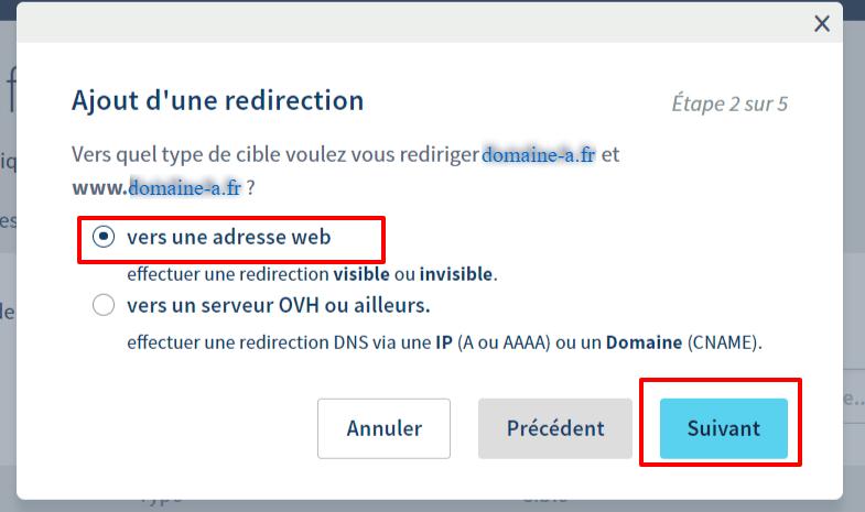 Redirection de nom de domaine chez OVH - Etape 2