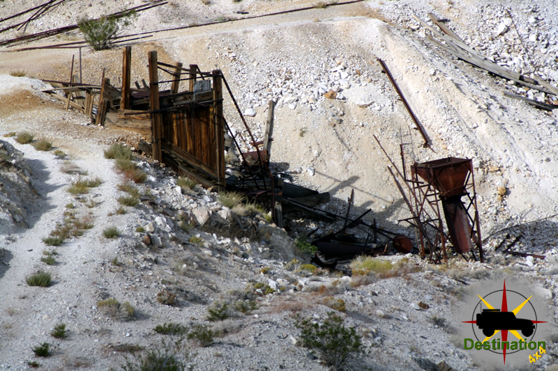 The remains of the Lippincott Mine at the southern end of Race Track Valley.