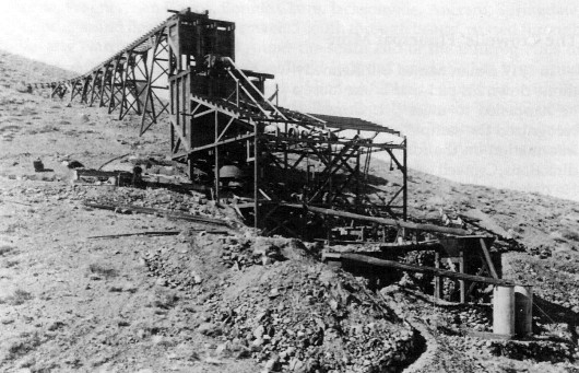 Crowells Mill under construction in Chloride City, CA about 1915