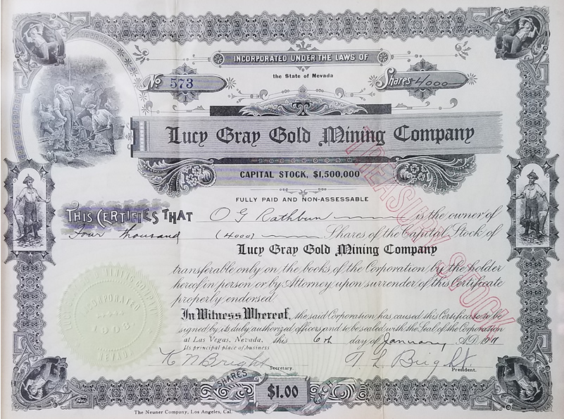 Lucy Grey Gold Mine Stock Certificate.