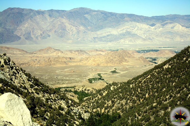 Looking down on the Alabama Hills and Owens Valley from Whitney Portal, Inyo County
