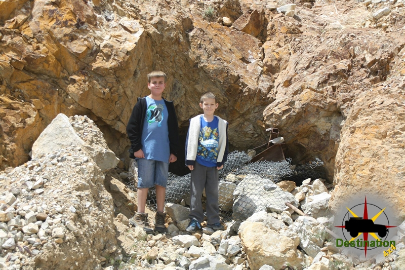 "My nephew and son searching for the ""River of Gold"" on Kokoweef peak."