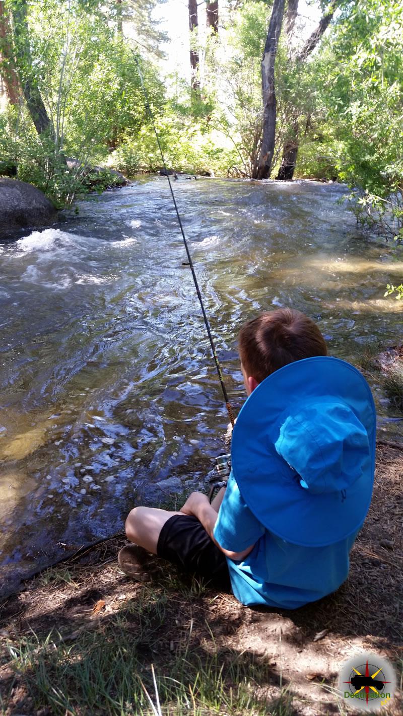 Fishing Rock Creek at French Camp, High Sierra, CA