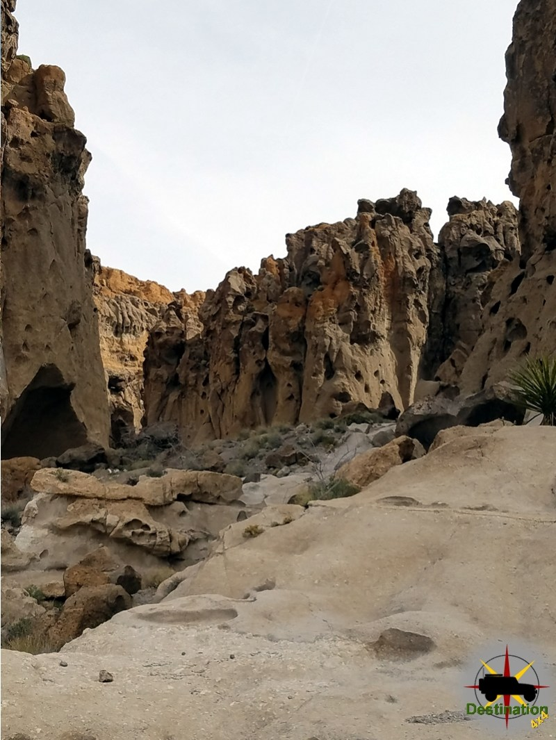 A slot canyon begins to form towards the end of the Ring Trail, Mojave National Preserve.
