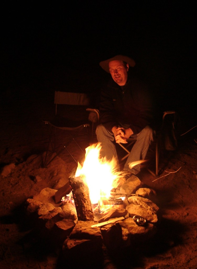 Yours truly enjoying a campfire.