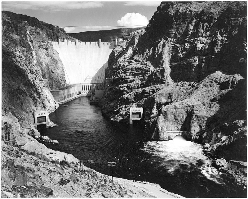 Photograph of the Hoover Dam (formerly Boulder Dam) from Across the Colorado River; From the series Ansel Adams Photographs of National Parks and Monuments, compiled 1941 - 1942, documenting the period ca. 1933 - 1942