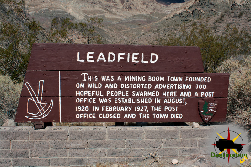 Leadfield Sign, Death Valley, California