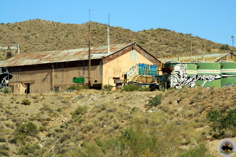The heavily vandalized Goldome Mill outside of Ivanpah, California