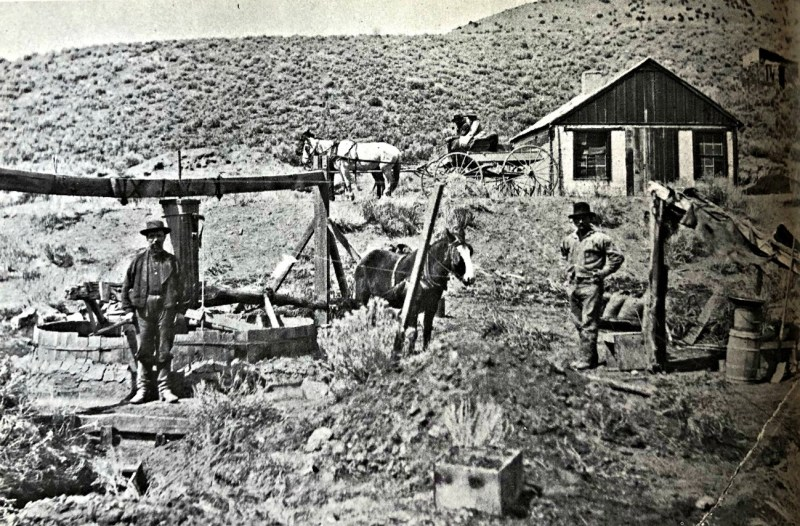 Dun Glen, Nevada, circa 1880. A horse powered arrastra grinding ore from surface veins.