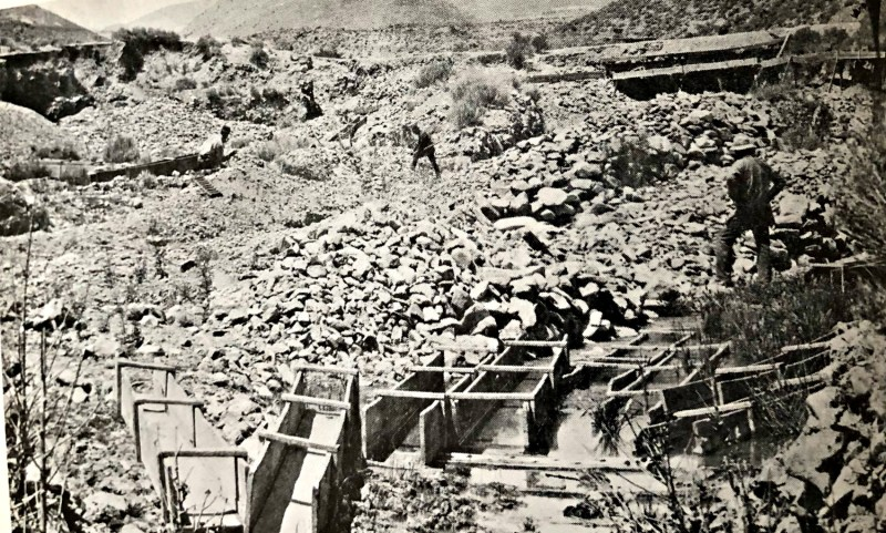 Placer mining, 1880s, in Gold Canyon. The original site of Johntown mining settlement , south of Silver, City Nevada - Stanley W. Paher, Nevada Ghost Towns and Mining Camps, Howell North, 1970, p 70. courtesy of Nevada Historical Society