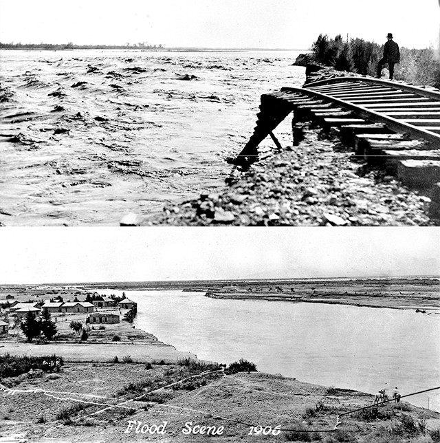 In early 1905, following torrential rains, the Colorado River broke through an irrigation canal and washed out farms, fields and roads on its way to the Salton Sink. - Credit: both: Imperial Irrigation District.