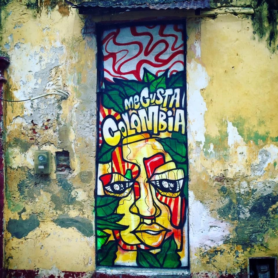 Colombian street art in the city of Cartagena