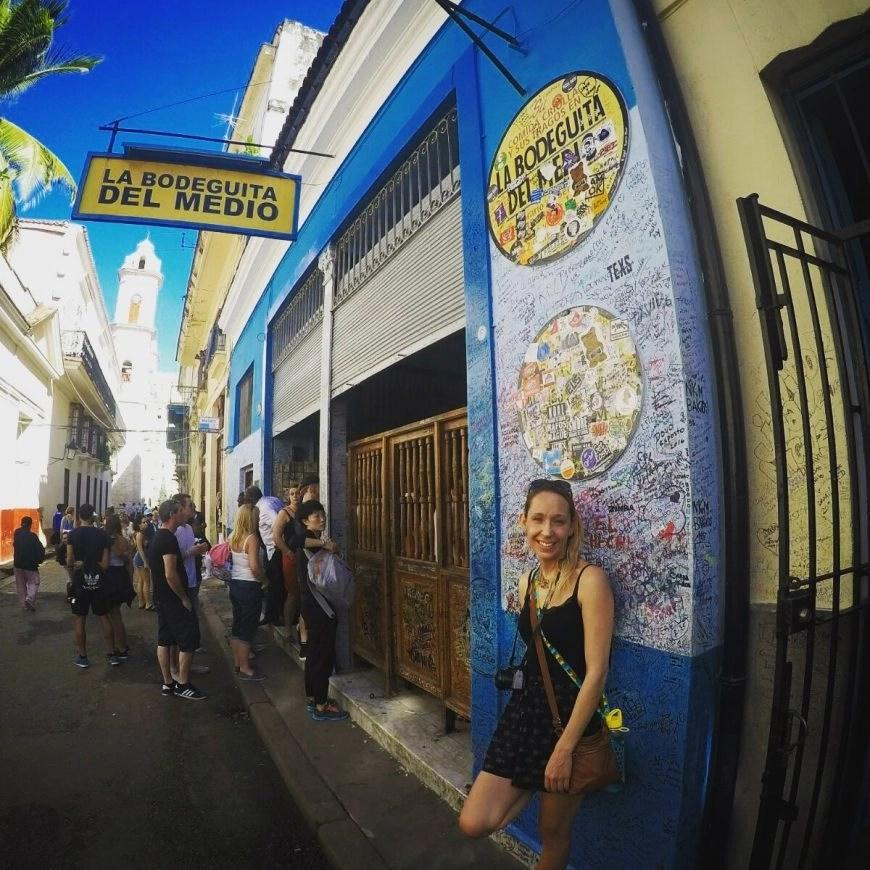 Chilling outsite of La Bodeguita Del Medio in Old Havana
