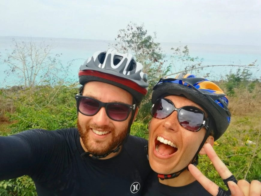 Destination Addict - Very happy after a morning's snorkelling & cycling on the road from Playa Larga to Playa Giron, Cuba