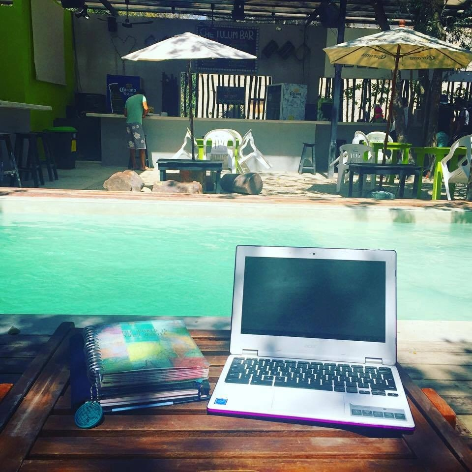 Destination Addict - Chilling & catching up on some blogging by the pool at Hostal Che, Tulum