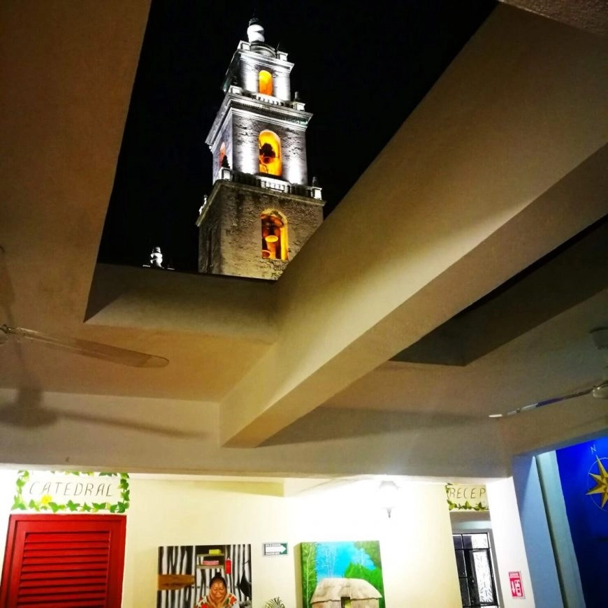 Merida Mexico - The view right out of the roof of Hostal de Catedral