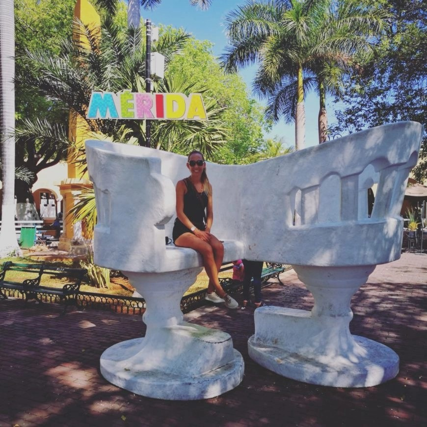 """Destination Addict - Chilling on one of the """"dating"""" chairs in one of Merida's many plazas"""
