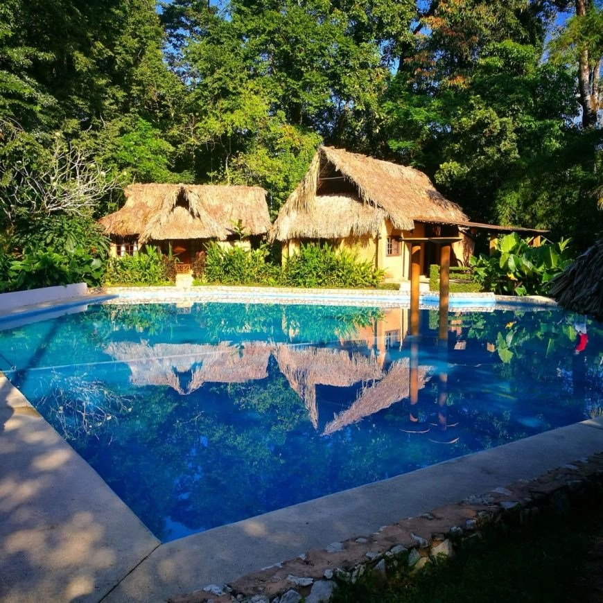 Jungle side pool at Mayabell Cabanas near the ruins of Palenque, Mexico