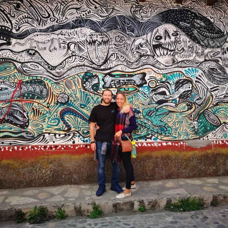 Infront of some street art in San Cristóbal de las Casas, Mexico