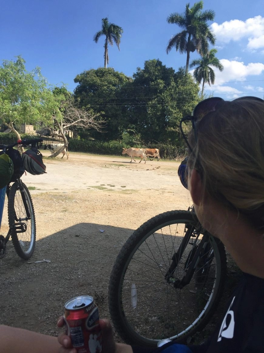 Destination Addict - Enjoying a simple lunch by the side of the road whilst cycling in Cuba