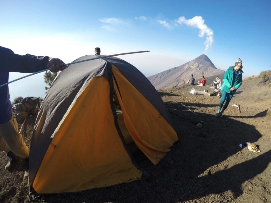 Destination Addict - Our campsite, Volcan de Acatenango hike, near Antigua, Guatemala