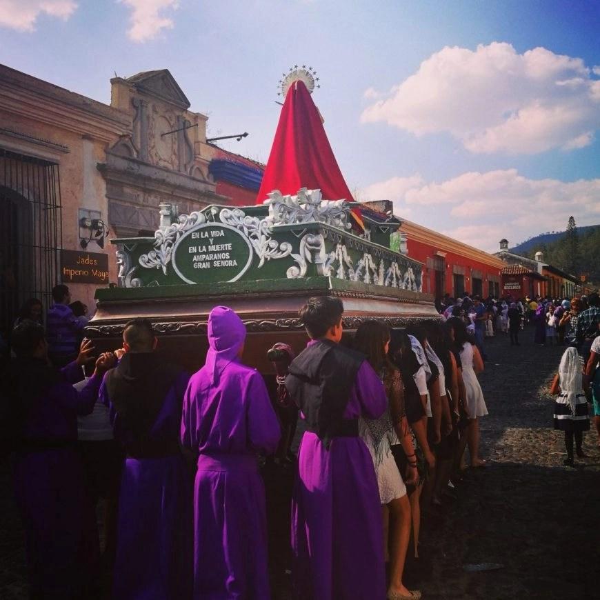 Destination Addict - Locals carrying floats in the run up to Semana Santa, Antigua, Guatemala