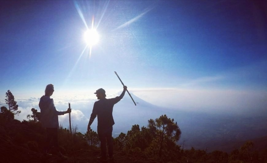 On top of the world together, Volcan de Acatenango hike, Guatemala